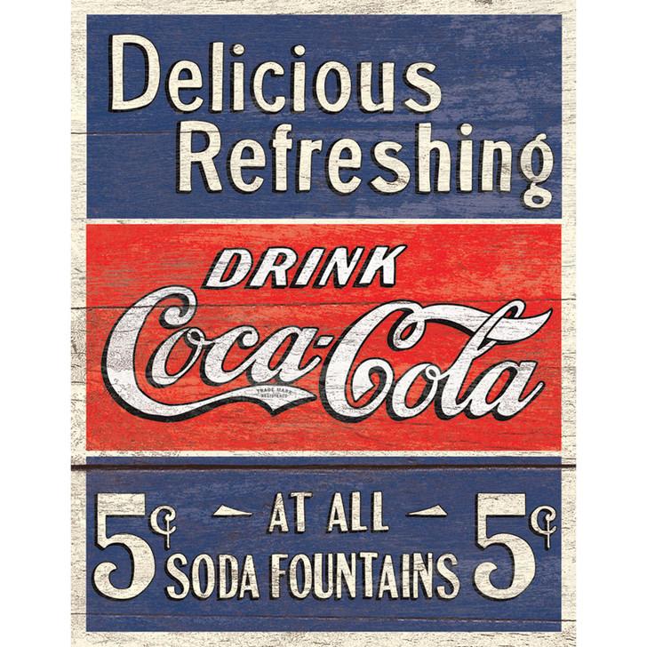 Delicious Coca-Cola 5 Cents Metal Signe Main Image