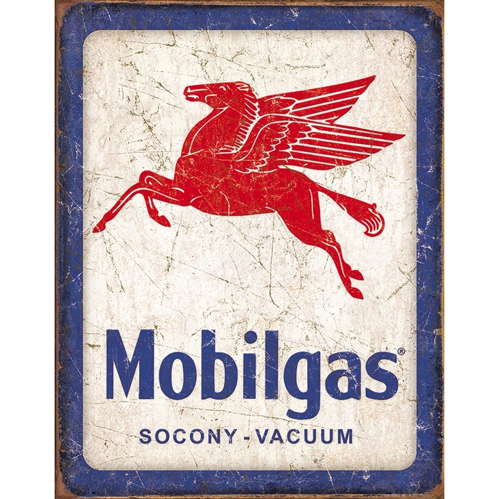 Mobilgas Weathered Metal Sign Main Image