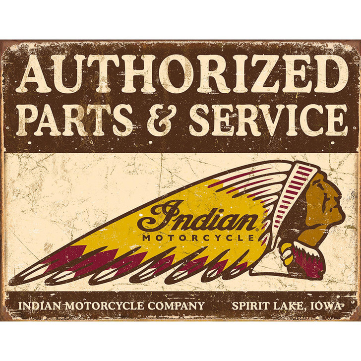 Authorized Indian Parts & Service Weathered Metal Sign Main Image