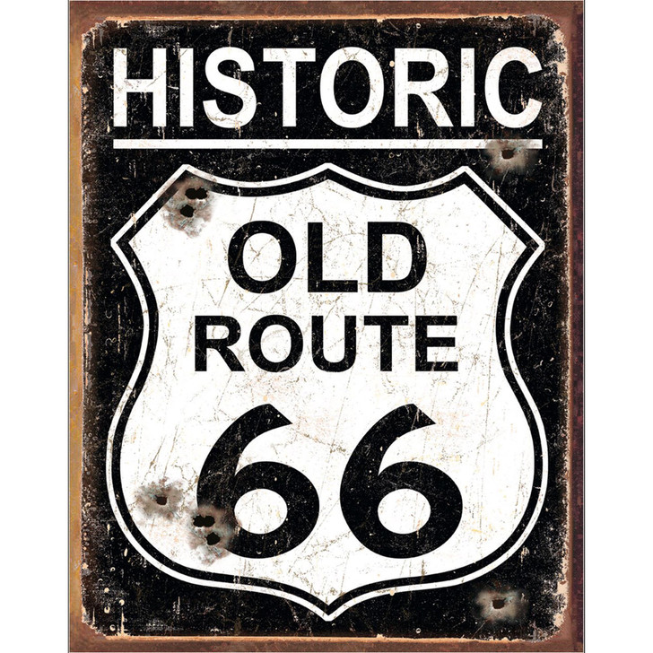 Historic Old Route 66 - Weathered Wall Art Main Image