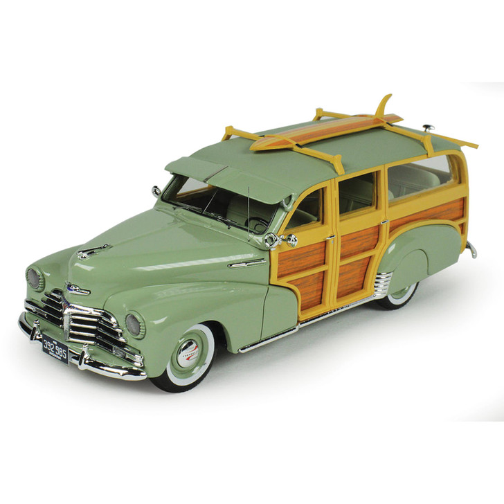 1948 Chevrolet Fleetmaster Woodie - Satin Green with Surfboard Main Image