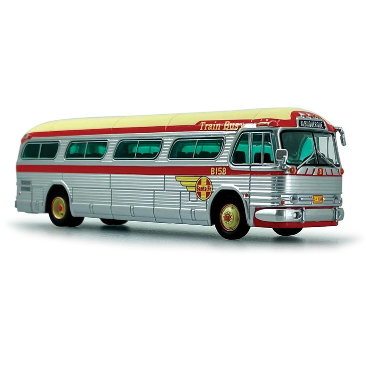 1958 GM PD-4104 SANTA FE TRAIN BUS - DESTINATION ALBUQUERQUE 1:87 Scale Diecast Model by Iconic Replicas Main Image