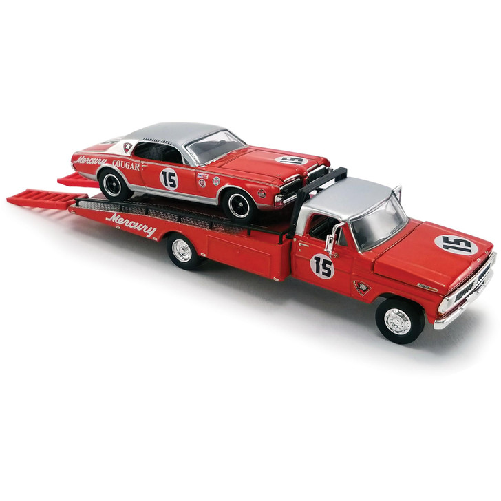 1970 Ford F-350 Ramp Truck with #15 Parnelli Jones 1967 Trans Am Cougar 1:64 Scale Diecast Model by Acme Main Image
