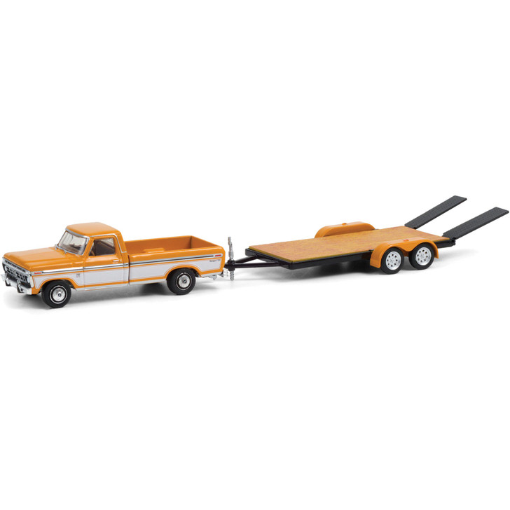 1976 Ford F-150 Ranger XLT Trailer Special with Flatbed Trailer 1:64 Scale Diecast Model by Greenlight Main Image