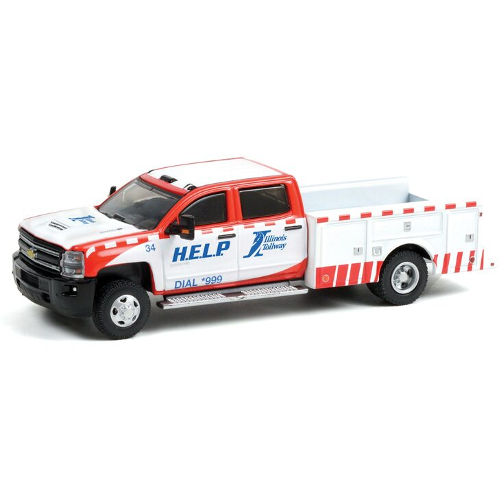 2018 Chevrolet Silverado 3500 Dually Service Bed - Illinois Tollway 1:64 Scale Diecast Model by Greenlight Main Image