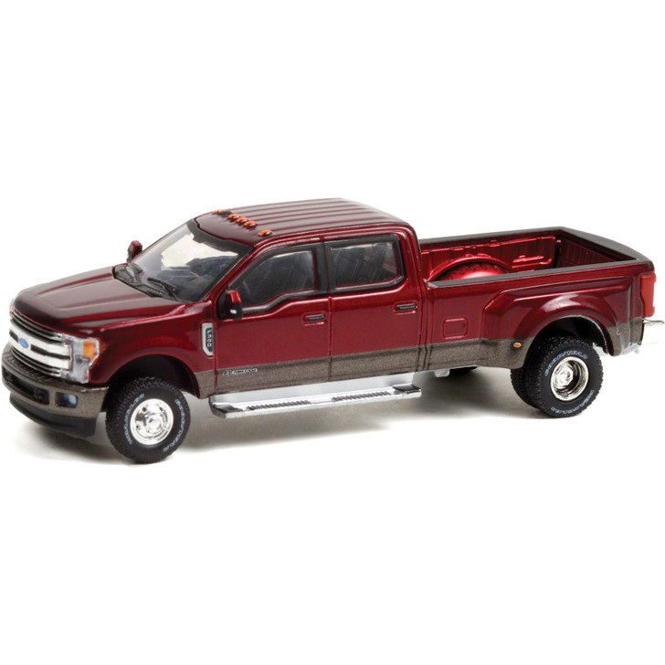 2019 Ford F-350 Dually - Ruby Red and Stone Gray 1:64 Scale Diecast Model by Greenlight Main Image
