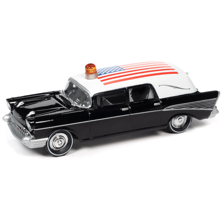 1957 Chevrolet Hearse - Black & White 1:64 Scale Diecast Model by Johnny Lightning Main Image