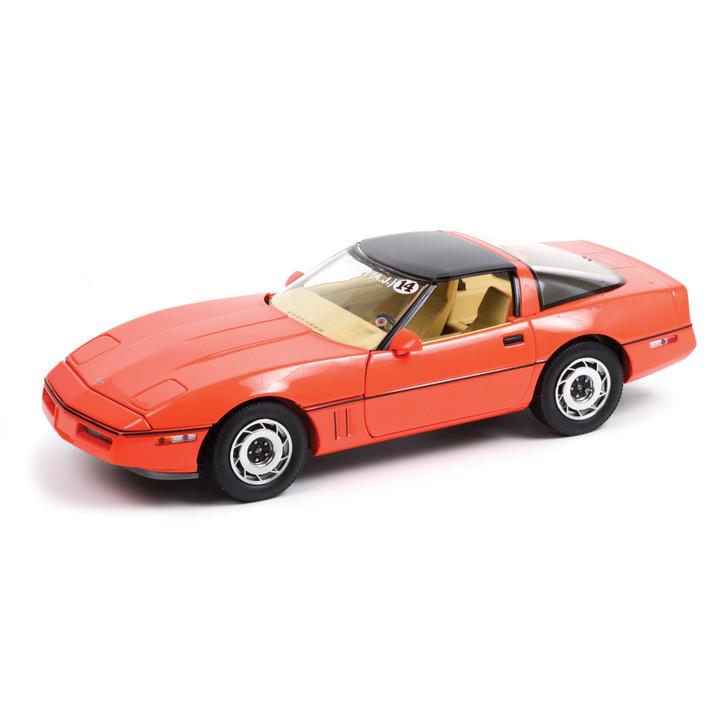 1984 Chevrolet Corvette C4 - Hugger Orange - Jim Gilmore & AJ Foyt Limited Edition 1:18 Scale Diecast Model by Greenlight Main Image