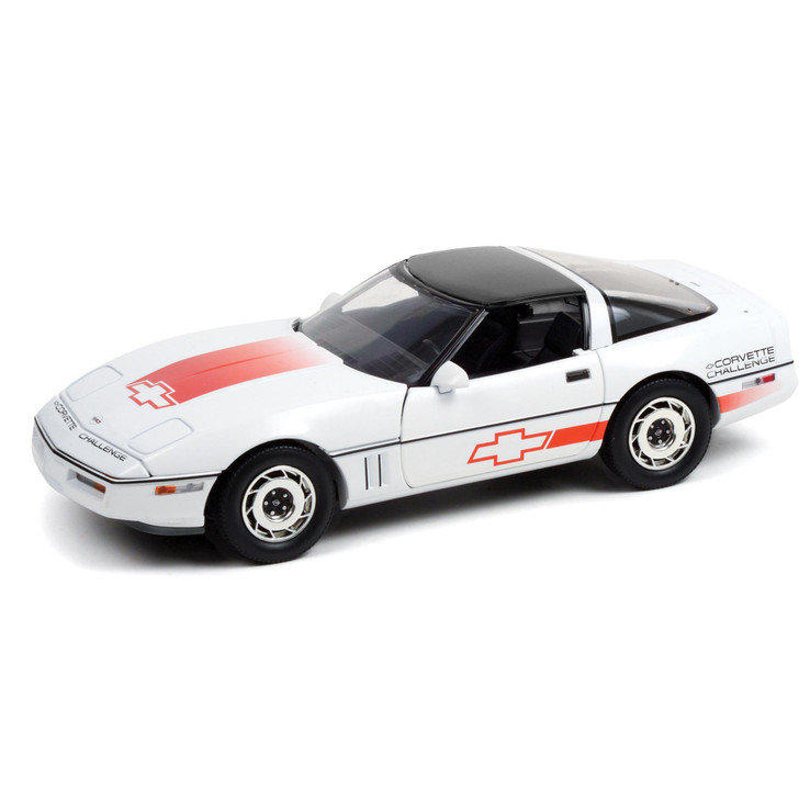 1988 Chevrolet Corvette C4 - White with Orange Stripes - Corvette Challenge Race Car 1:18 Scale Diecast Model by Greenlight Main Image