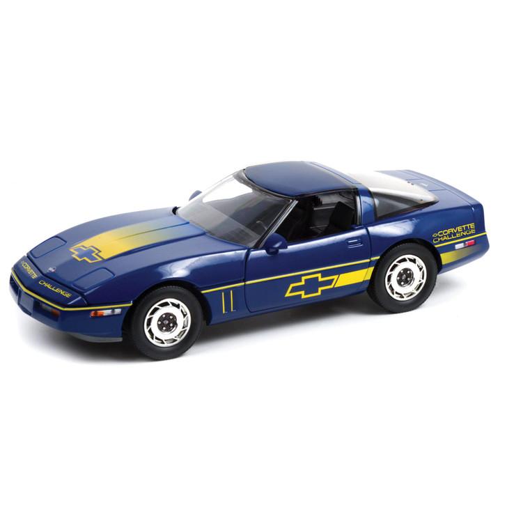 1988 Chevrolet Corvette C4 - Dark Blue with Yellow Stripes - Corvette Challenge Race Car 1:18 Scale Diecast Model by Greenlight Main Image
