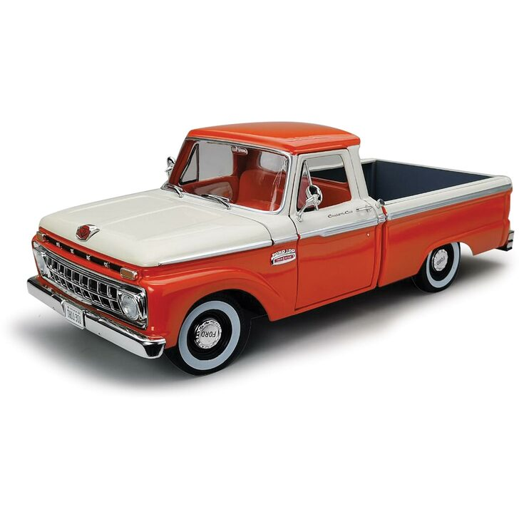 1965 Ford F-100 Pickup - Orange & White 1:18 Scale Diecast Model by Sunstar Main Image