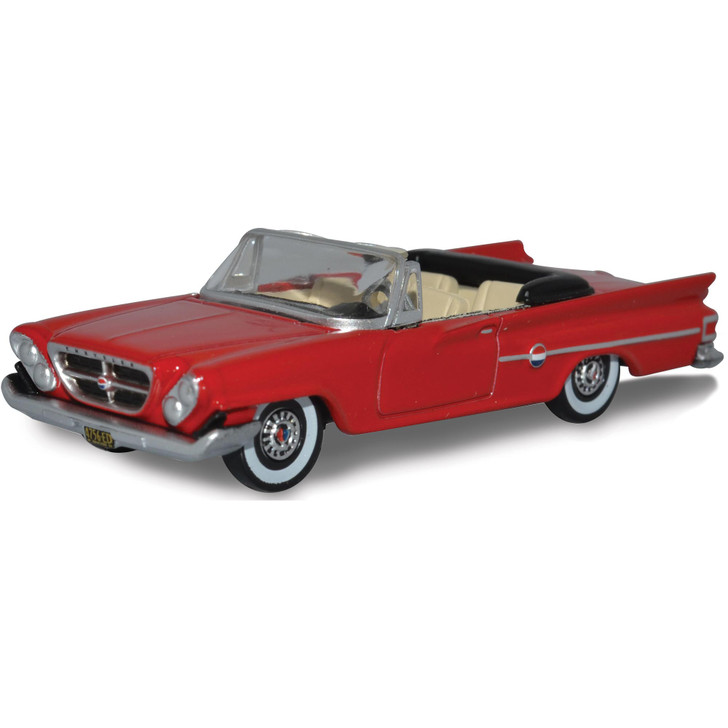 1961 Chrysler 300 Convertible - Mardi Gras Red (Open) 1:87 Scale Diecast Model by Oxford Diecast Main Image