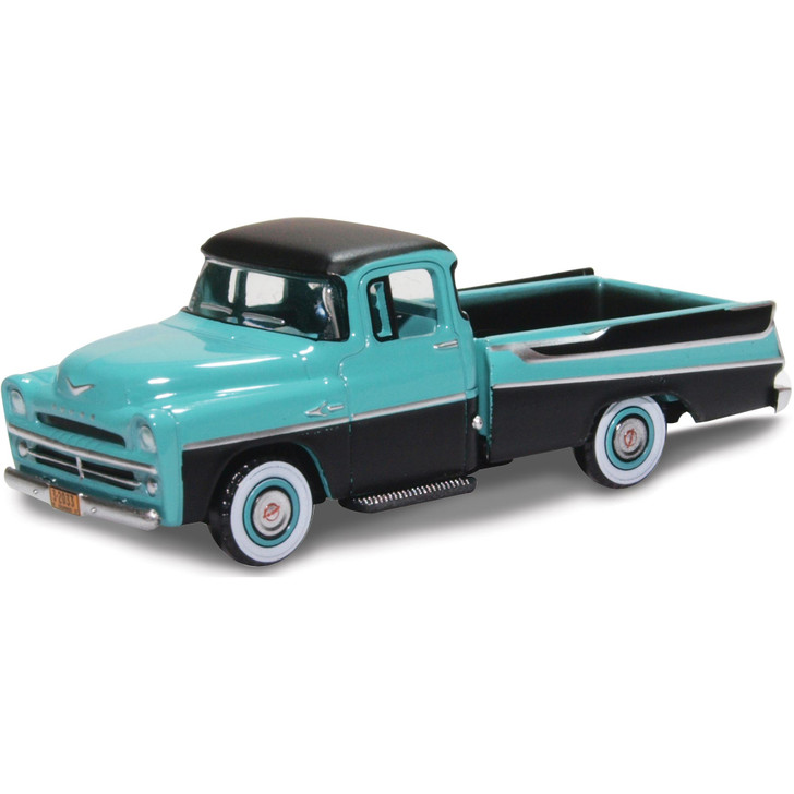 1957 Dodge D100 Sweptside Pickup - Turquoise / Jewel Black 1:87 Scale Diecast Model by Oxford Diecast Main Image