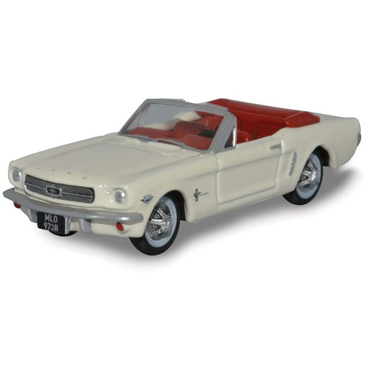 1965 Ford Mustang Convertible - Wimbledon White (Goldfinger) 1:87 Scale Diecast Model by Oxford Diecast Main Image