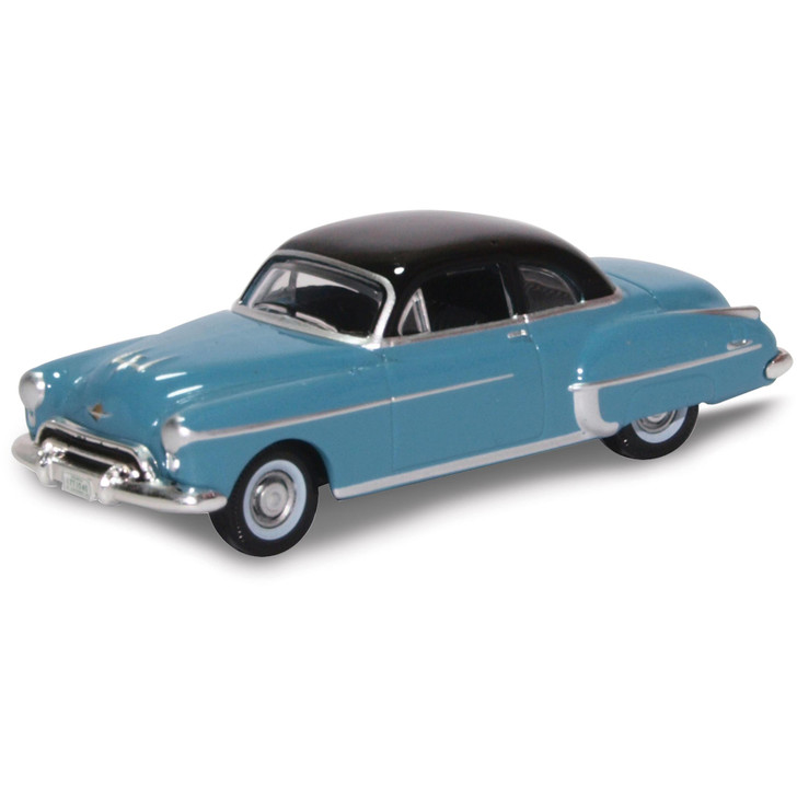 1950 Oldsmobile Rocket 88 Coupe - Crest Blue / Black 1:87 Scale Diecast Model by Oxford Diecast Main Image