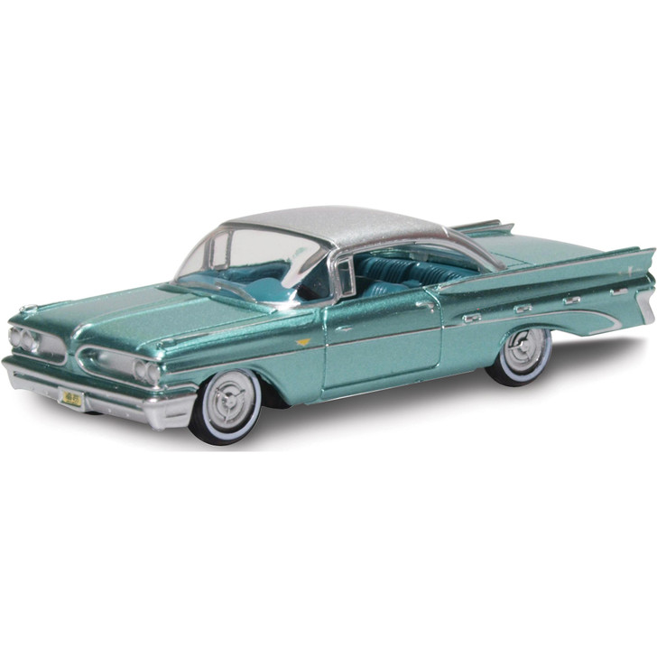 1959 Pontiac Bonneville Coupe - Seaspray Green / Silver 1:87 Scale Diecast Model by Oxford Diecast Main Image