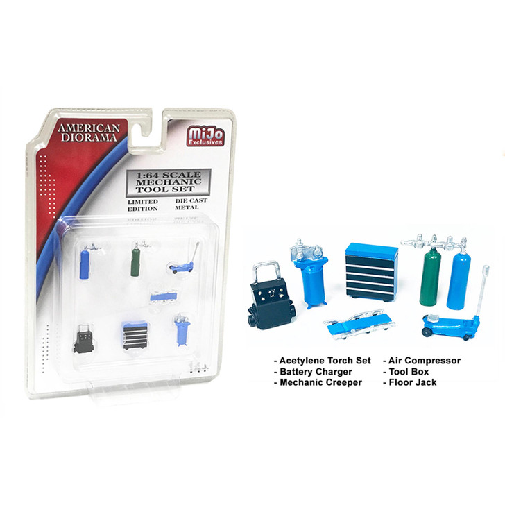 Mechanic 1:64 Diecast Shop Tool Collection - Blue 1:64 Scale Diecast Model by American Diorama Main Image
