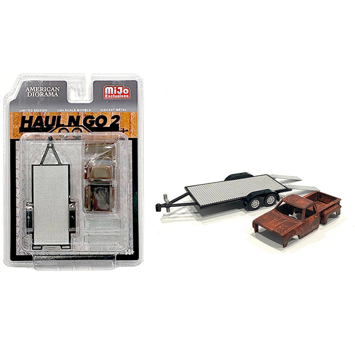 Haul n Go #2 - 1:64 Diecast Trailer & Rusted Truck Body Collection 1:64 Scale Main Image