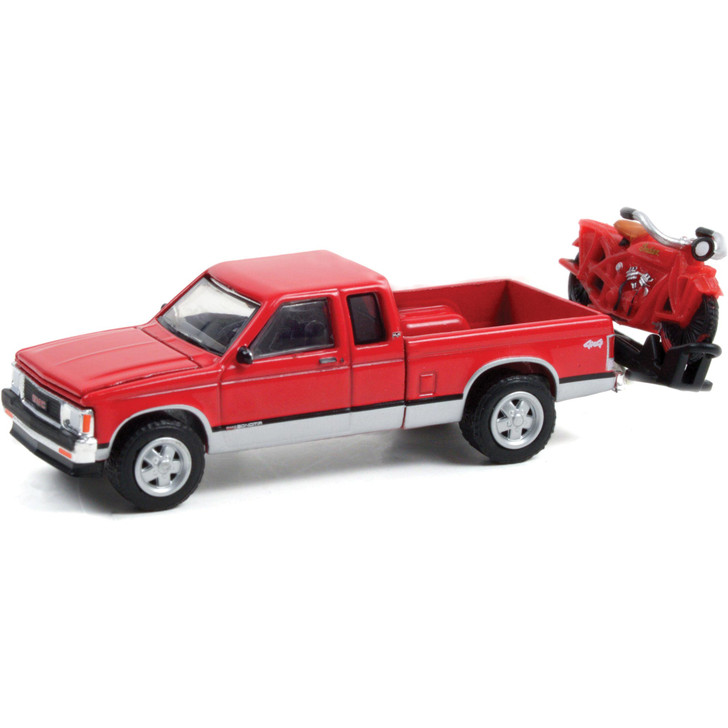 1991 GMC Sonoma Extended Cab w/2021 Indian Scout - 100 Years of Indian Chiefs 1:64 Scale Main Image