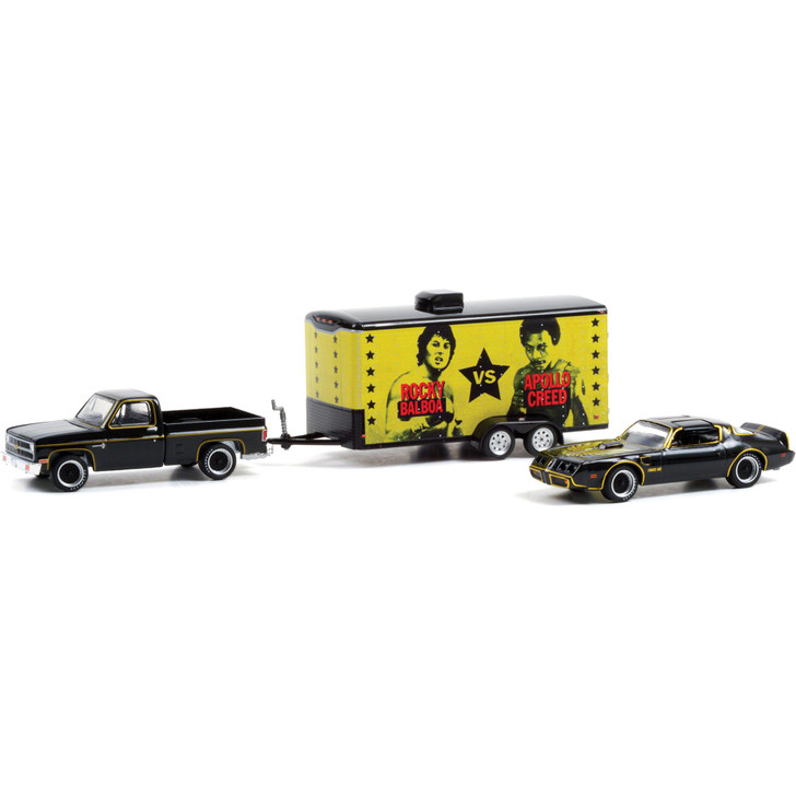 Rocky II - 1981 Chevrolet C-10 Custom Deluxe with Rocky's 1979 Pontiac Firebird Trans Am in Enclosed Car Hauler 1:64 Scale Main Image