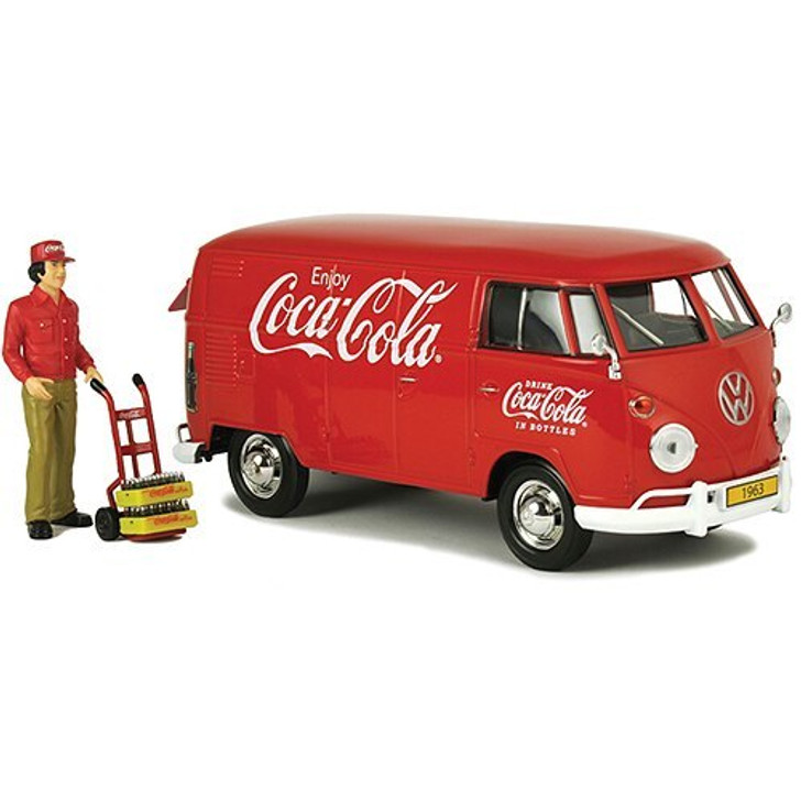 Motor City Classics 1963 Coca-Cola VW Van with Driver, Handcart and Coke Cases 124 Scale Diecast Model by Motor City Classics 17226NX