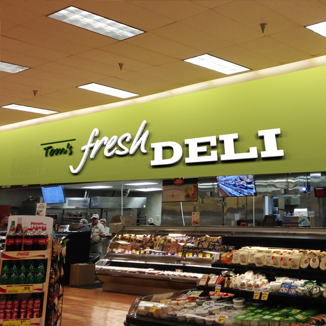 Modern Supermarket Deli Signage, 3D Letters, Free Design