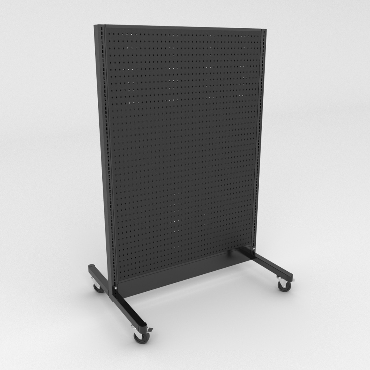 Mobile Gondola Shelving Double Sided W Casters Black 48 W X 72 H