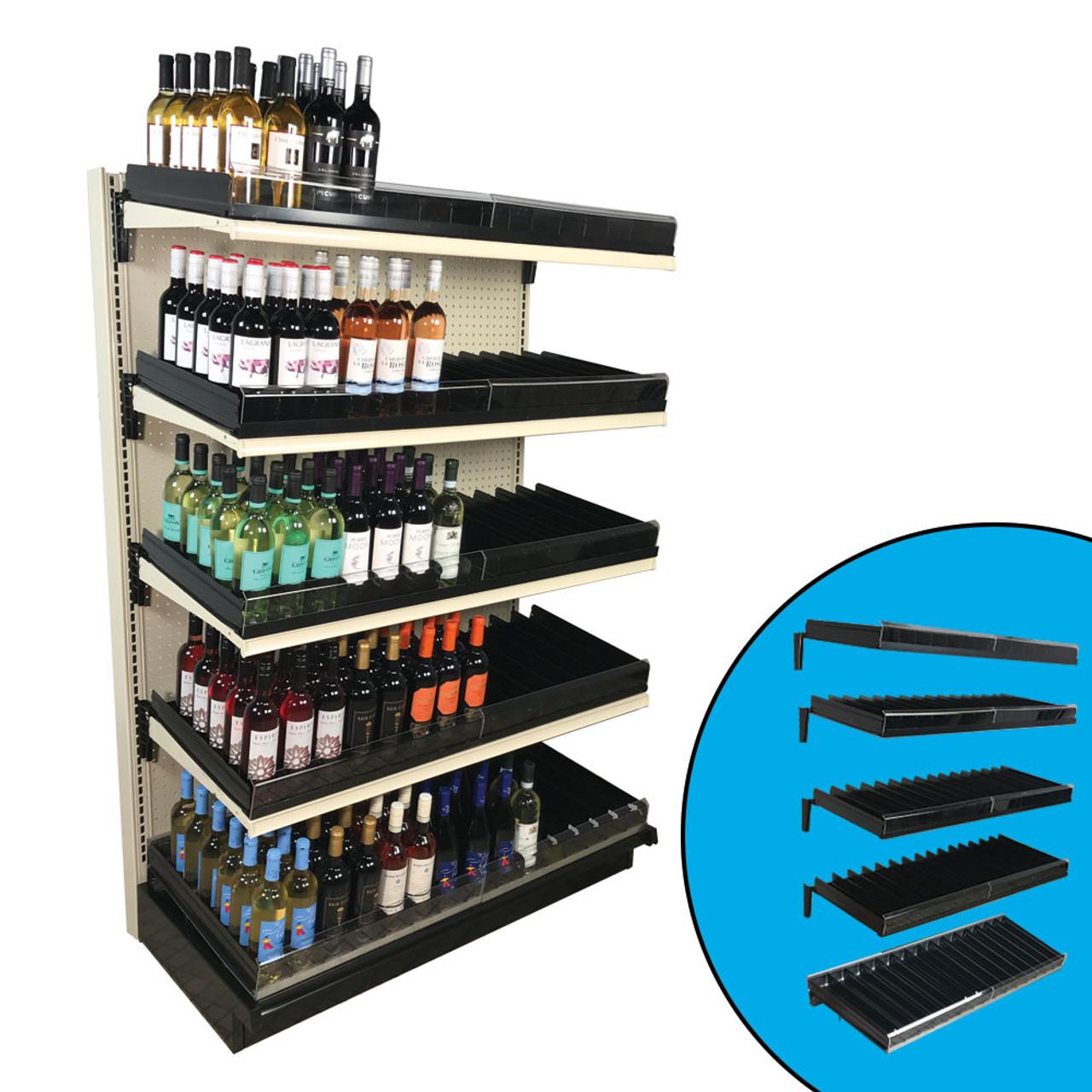 Gravity Feed Shelf Kit Wine Liquor Fits 48 W Gondola 5 Shelves