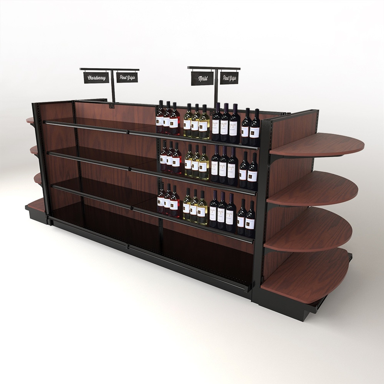 Awe Inspiring Wine Store Display Fixtures Wood Gondola Shelving Kit W End Caps 12Ft Home Interior And Landscaping Mentranervesignezvosmurscom