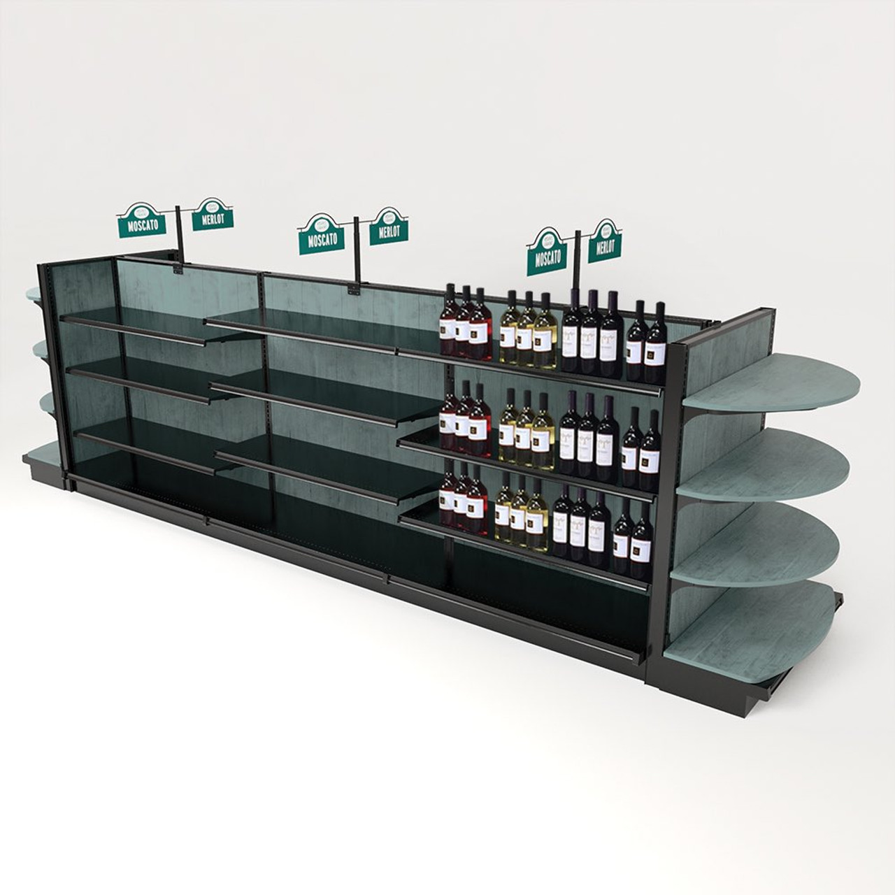 Wood Liquor Store Shelving w/End Caps Kit, 54H x 16ft Long