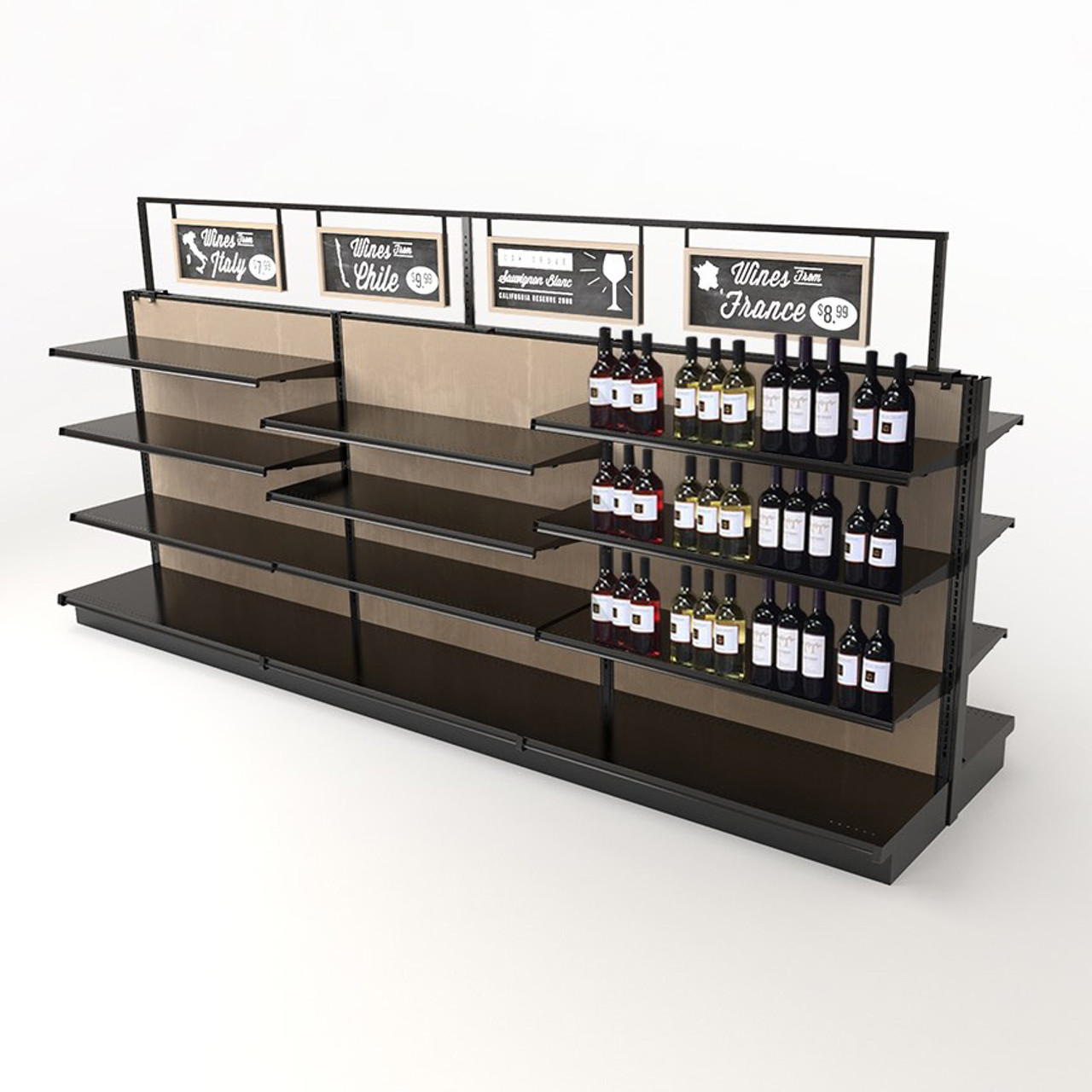 Wholesale Liquor Store Supplies Wood Retail Wine Rack Kit 54h X 12ft Long
