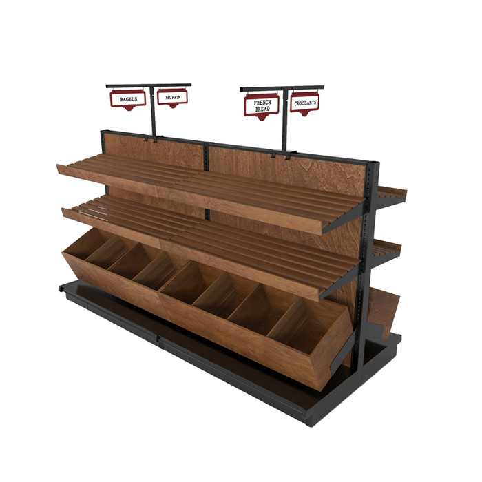 Bakery island display shown with gondola shelving and bread baskets.