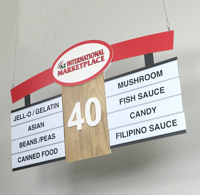 ethnic asian mexican food store hanging signs