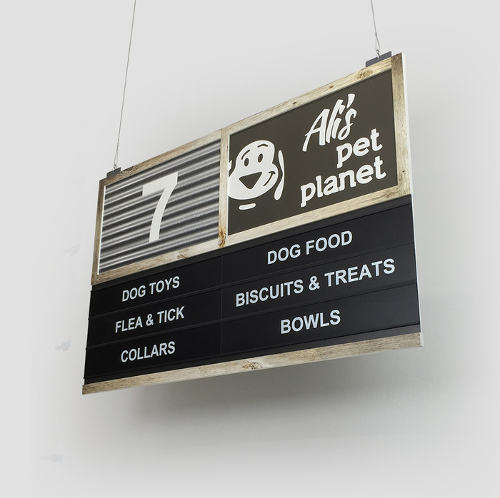 hanging aisle sign directory