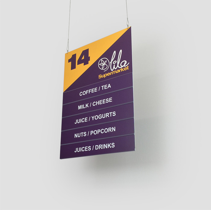 Aisle signs for retail