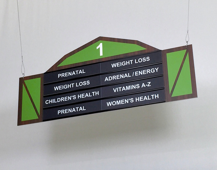 hanging retail store signage display low ceiling