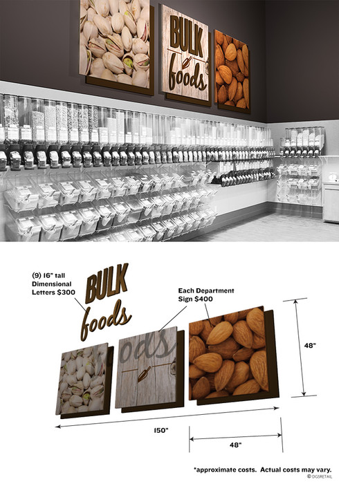 sustainable wood sign for grocery and qsr