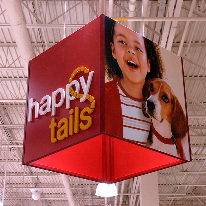 Large hanging sign for retail stores