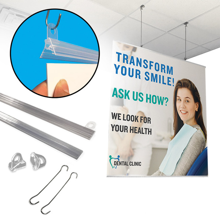 Poster hanger kit with banner rails, double-c wire hooks, and end result at a dentist's office.