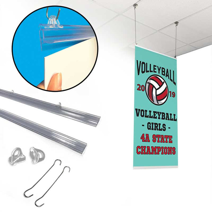 Plastic poster with hanging rails, shown with parts and use in a school arena.