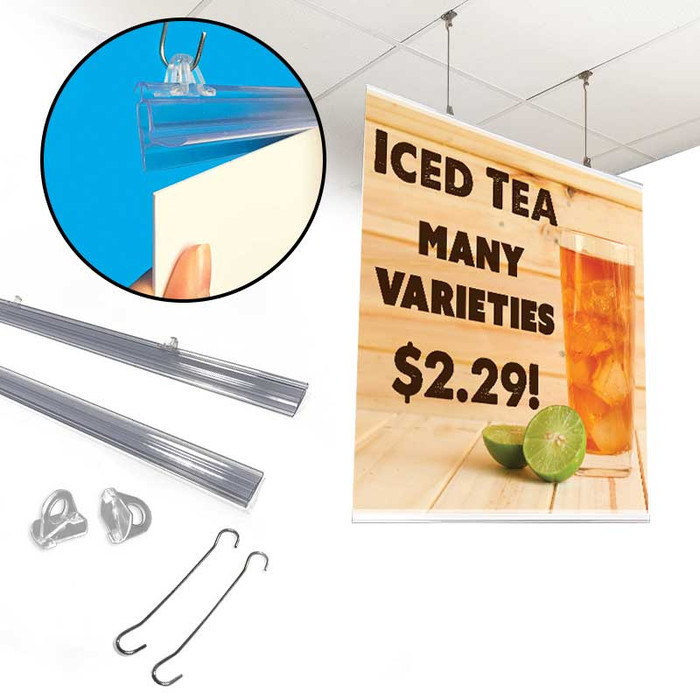 Hanging banner rails kit shown with attaching a sign and the signage attached.