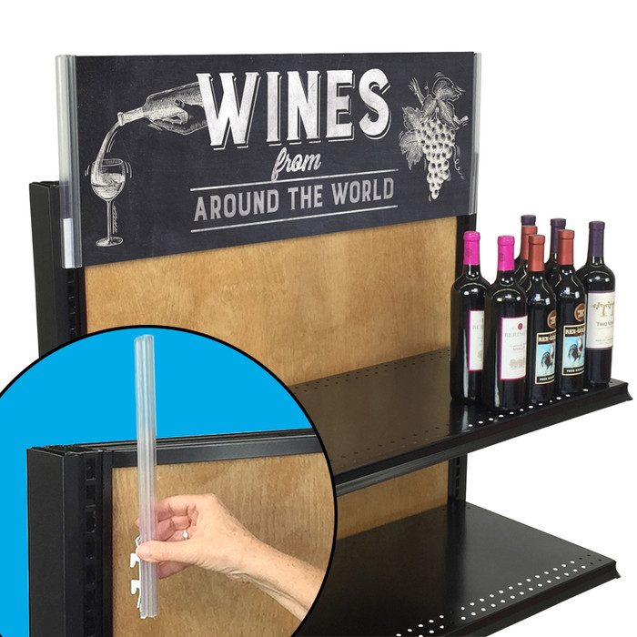 Sign grippers shown being installed and used on top of a wine rack.