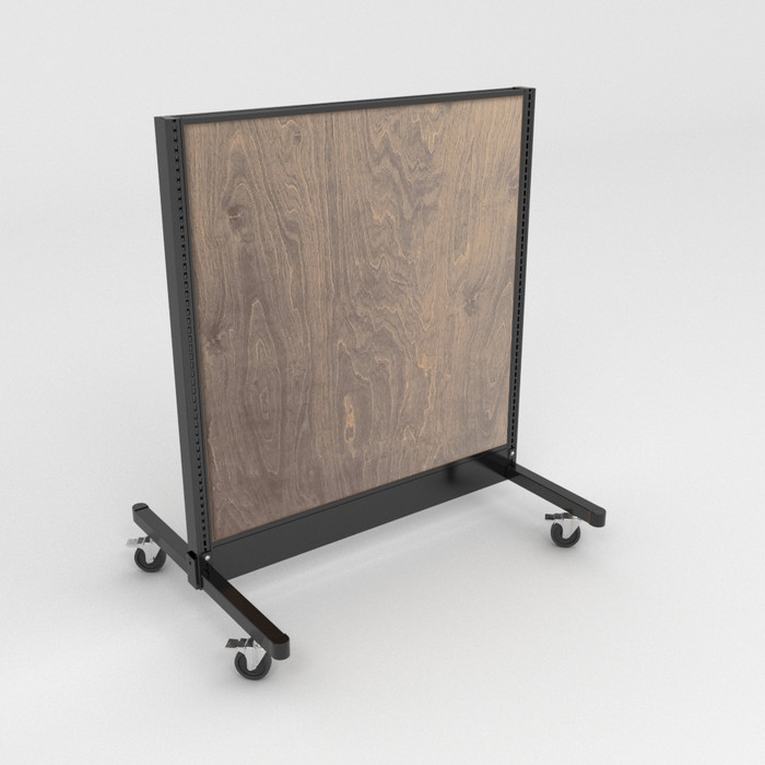 Beechwood stained mobile gondola with black metal frame.