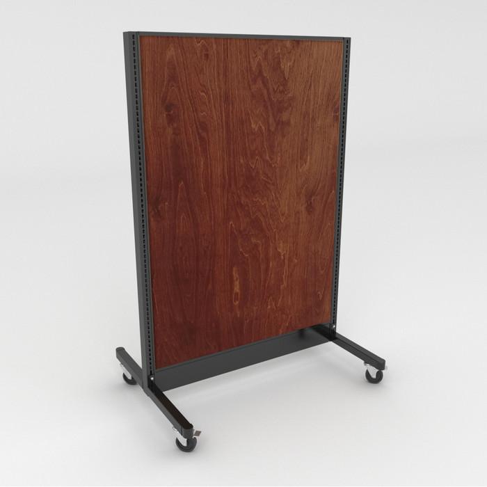 Mobile gondola unit with chestnut wood back panels.