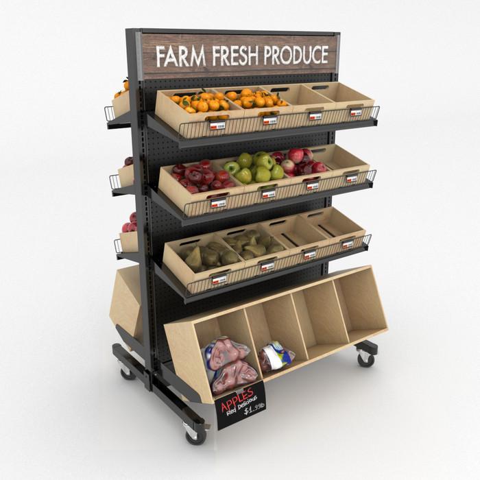 Mobile gondola display unit with fresh produce and wood bins.