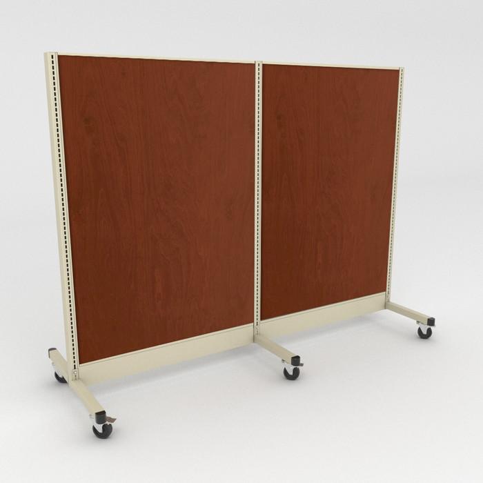 Rolling gondola unit shown with wood back panels.