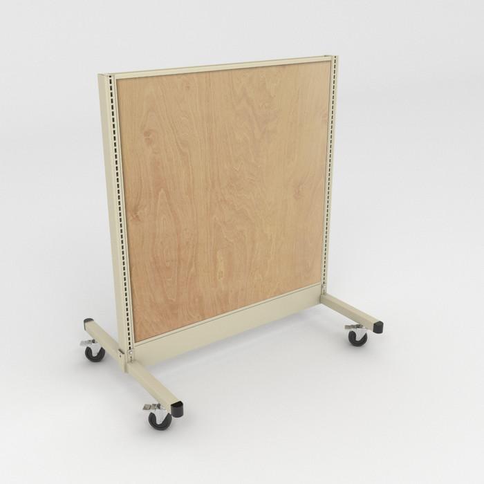 Platinum mobile gondola shelving with wood back panels.