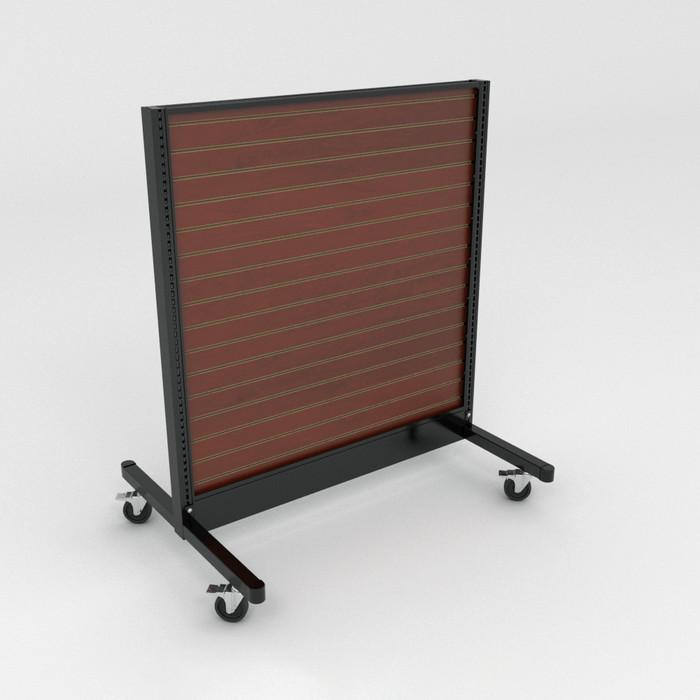 Mobile gondola shelving with wood slatwall backings.