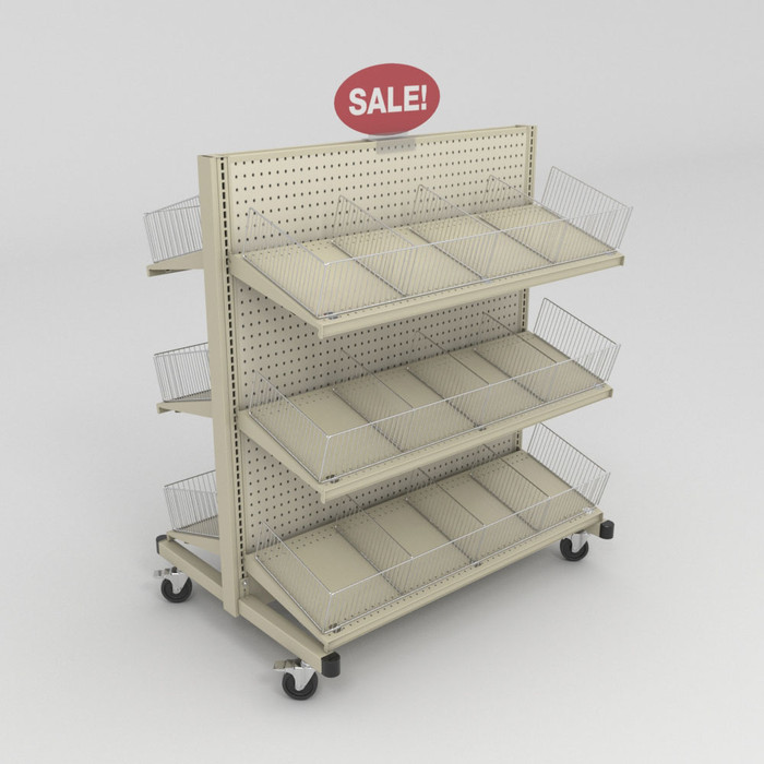 Mobile gondola shelving unit shown with with wire baskets.