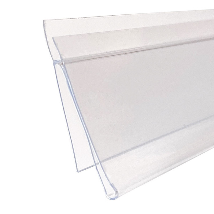 Snap in info data shelf strip label holder clear that's 48 inches wide made by DGS Retail